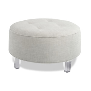 circular ottoman with lucite legs